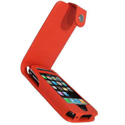 iGadgitz Red PU Leather Case Cover for Apple iPhone 3G & 3GS 8gb 16gb & 32gb + Screen Protector + Detachable Belt-Clip Thumbnail 1