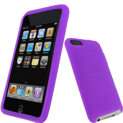 iGadgitz Purple Silicone Skin Case for Apple iPod Touch 2nd & 3rd Generation 8gb, 16gb, 32gb & 64gb + Screen Protector Thumbnail 1