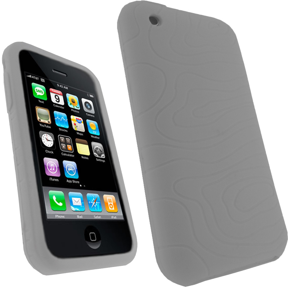 iGadgitz White Silicone Skin Case Cover Holder for Apple iPhone 3G & 3GS + Screen Protector