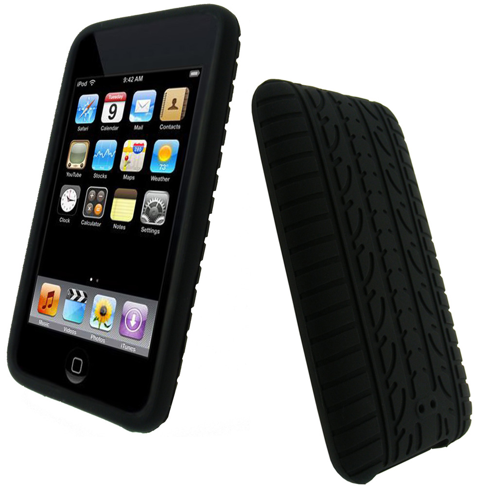 iGadgitz Black Silicone Tyre Tread Case for Apple iPod ...