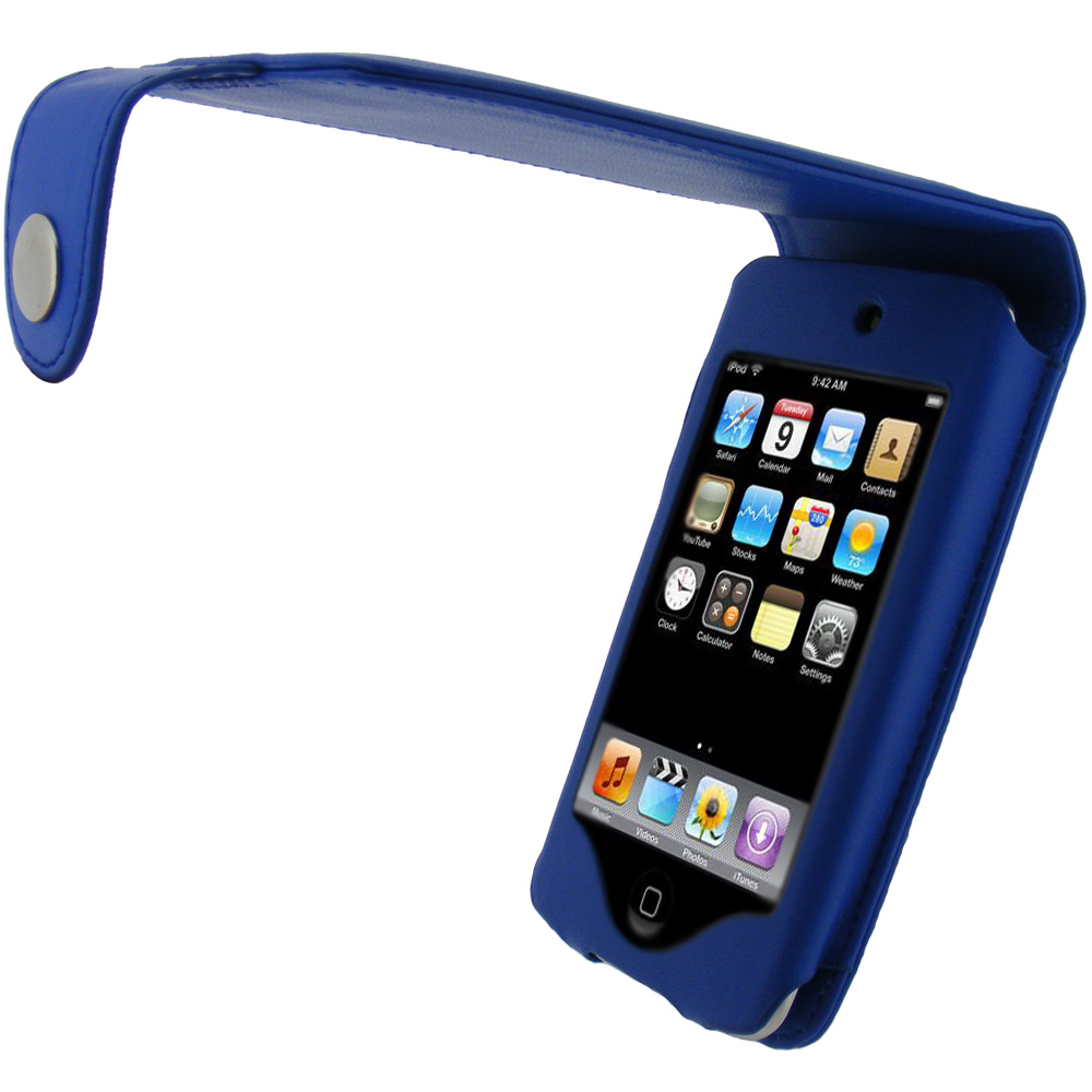 iGadgitz Blue PU Leather Case for Apple iPod Touch 2nd & 3rd Gen + Belt Clip & Screen protector
