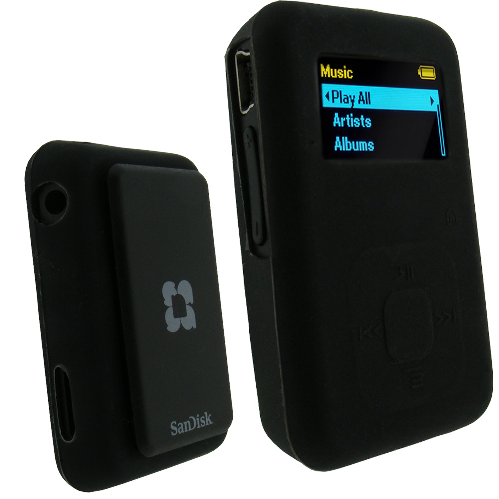 Details about Silicone Skin Case for Sandisk Sansa Clip Plus+ MP3 Player  Black Cover Holder