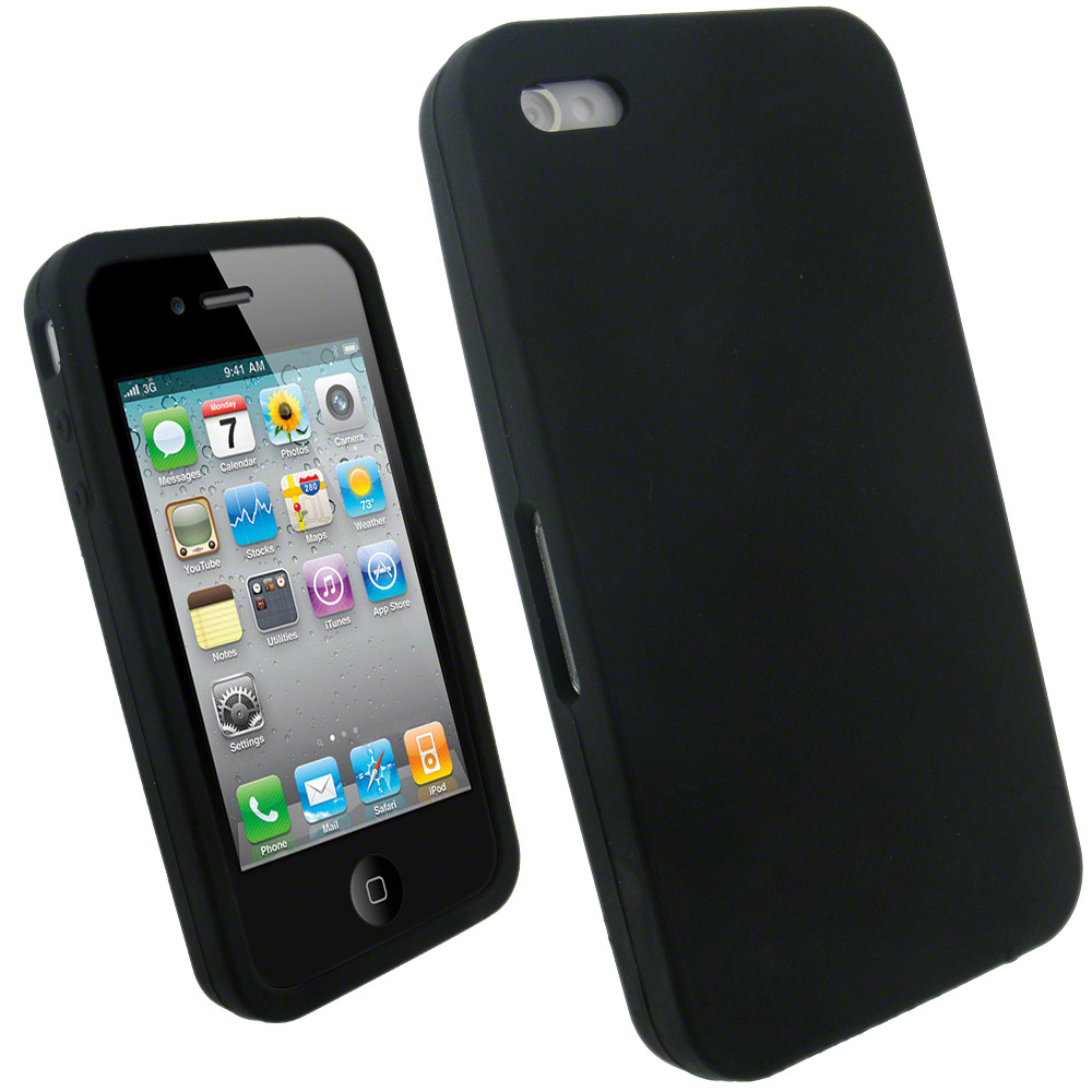 iGadgitz Black Silicone Skin Case Cover for Apple iPhone 4 ...