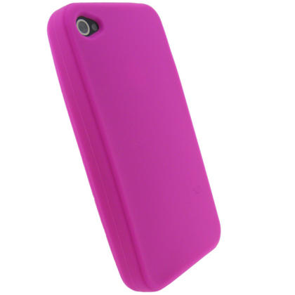 iGadgitz Pink Silicone Skin Case Cover for Apple iPhone 4 HD 16gb & 32gb + Screen Protector. Not suitable for iPhone 4S Thumbnail 4
