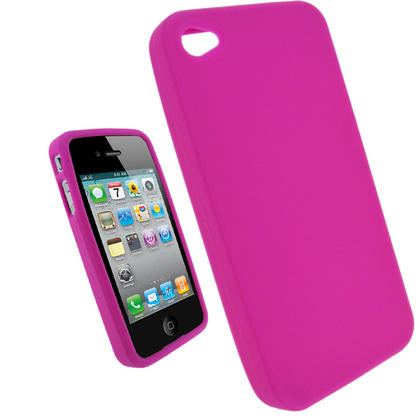 iGadgitz Pink Silicone Skin Case Cover for Apple iPhone 4 HD 16gb & 32gb + Screen Protector. Not suitable for iPhone 4S Thumbnail 1
