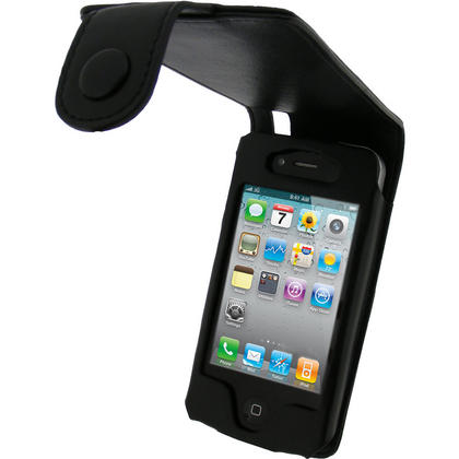 iGadgitz Black Genuine Leather Case for Apple iPhone 4 & 4S 16GB 32GB 64GB + Screen Protector & Detachable Belt Clip Thumbnail 1