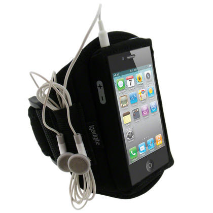 iGadgitz Black Water Resistant Neoprene Sports Gym Jogging Armband for Apple iPhone 4 HD & 4S 16GB, 32GB & 64GB Thumbnail 1