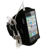 iGadgitz Black Water Resistant Neoprene Sports Gym Jogging Armband for Apple iPhone 4 HD & 4S 16GB, 32GB & 64GB