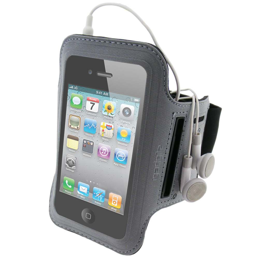 iGadgitz Black & Silver Reflective Neoprene Sports Gym Jogging Armband for Apple iPhone 4 HD & 4S 16GB, 32GB & 64GB