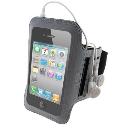 iGadgitz Black & Silver Reflective Neoprene Sports Gym Jogging Armband for Apple iPhone 4 HD & 4S 16GB, 32GB & 64GB Thumbnail 1