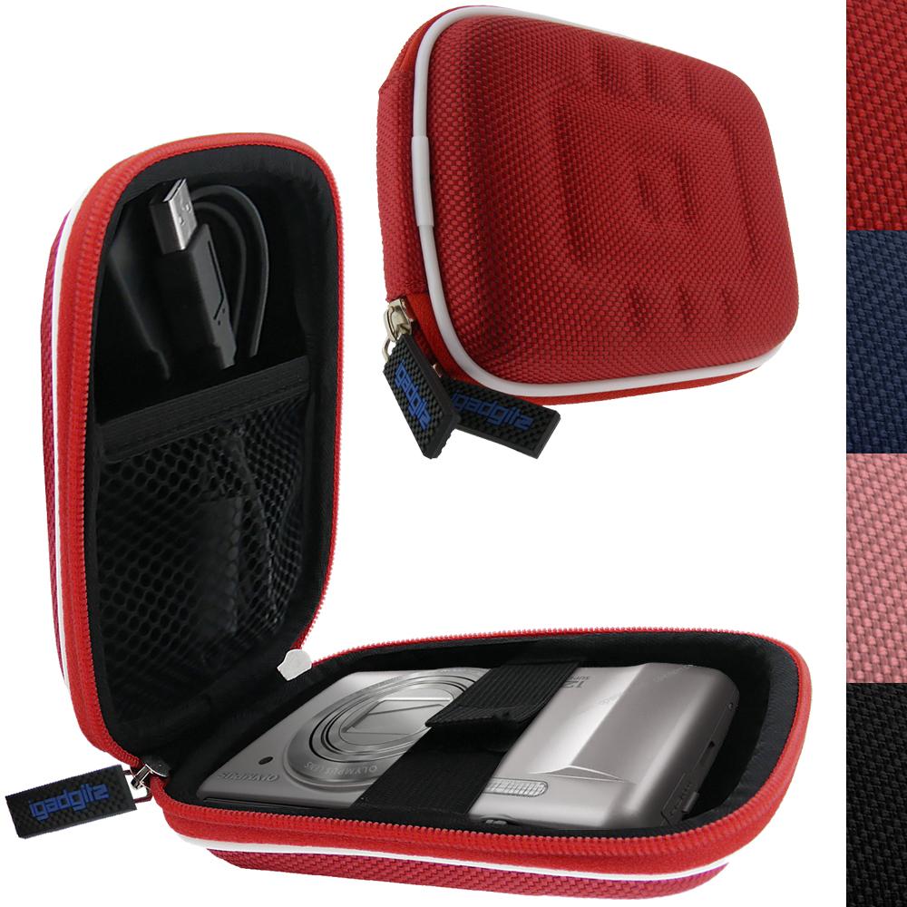 iGadgitz Red EVA Travel Hard Case Cover for Digital Cameras / Video Pocket Camcorders