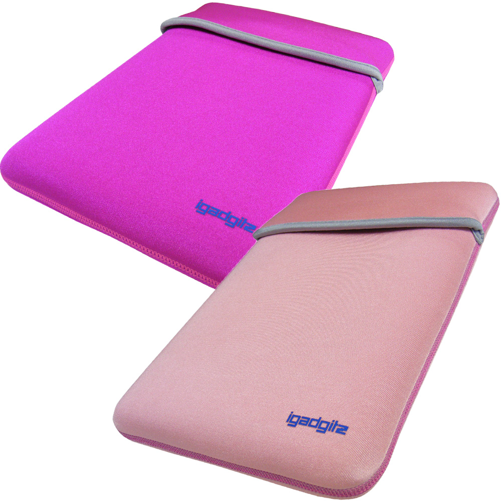 "iGadgitz Pink/Baby Pink Reversible Neoprene Sleeve Case Cover For 12"" Netbook"
