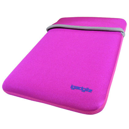"iGadgitz Pink/Baby Pink Reversible Neoprene Sleeve Case Cover For 12"" Netbook Thumbnail 2"