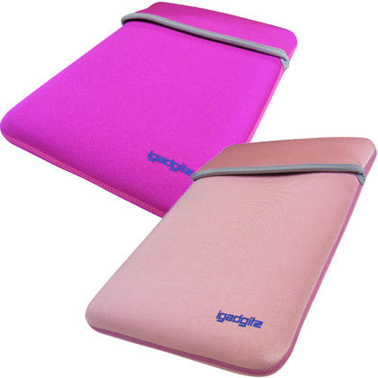 "iGadgitz Pink/Baby Pink Reversible Neoprene Sleeve Case Cover For 12"" Netbook Thumbnail 1"