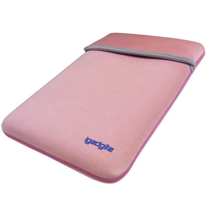 "iGadgitz Pink/Baby Pink Reversible Neoprene Sleeve Case Cover For 12"" Netbook Thumbnail 3"