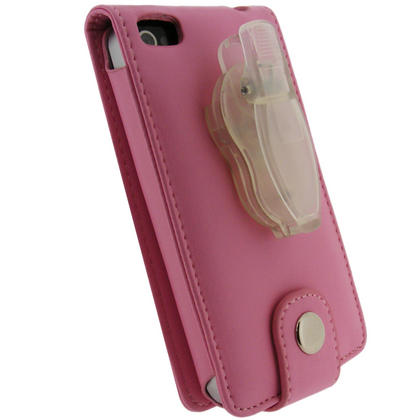 iGadgitz Pink PU Leather Case for Apple iPhone 4 HD & iPhone 4S 16GB 32GB 64GB + Screen Protector & Detachable Belt Clip Thumbnail 4