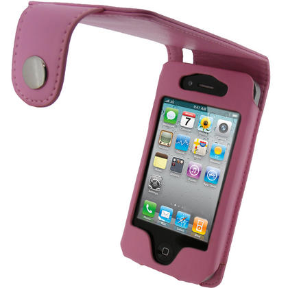 iGadgitz Pink PU Leather Case for Apple iPhone 4 HD & iPhone 4S 16GB 32GB 64GB + Screen Protector & Detachable Belt Clip Thumbnail 1