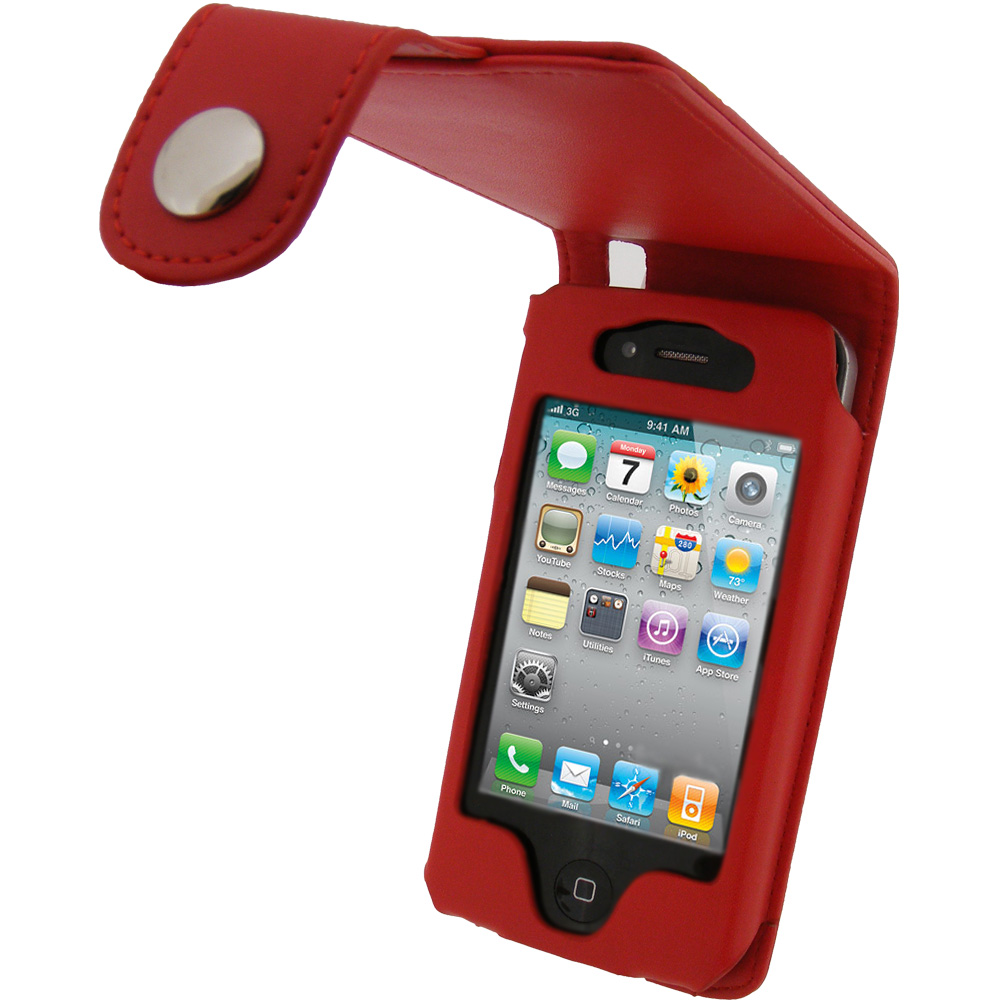 iGadgitz Red PU Leather Case for Apple iPhone 4 HD & 4S 16GB 32GB 64GB + Screen Protector & Detachable Belt Clip