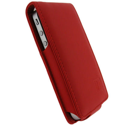 iGadgitz Red PU Leather Case for Apple iPhone 4 HD & 4S 16GB 32GB 64GB + Screen Protector & Detachable Belt Clip Thumbnail 2