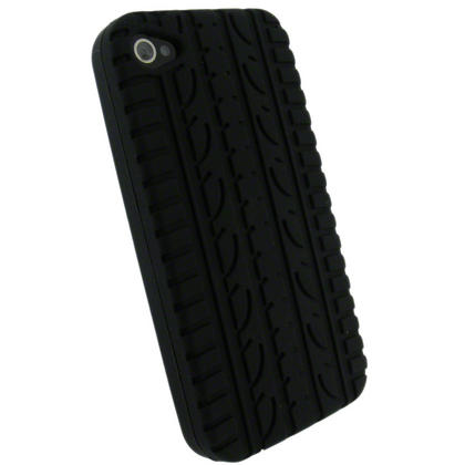 iGadgitz Black Tyre Tread Silicone Skin for Apple iPhone 4 16GB & 32GB + Screen Protector. Not suitable for iPhone 4S Thumbnail 3