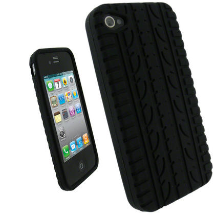iGadgitz Black Tyre Tread Silicone Skin for Apple iPhone 4 16GB & 32GB + Screen Protector. Not suitable for iPhone 4S Thumbnail 1
