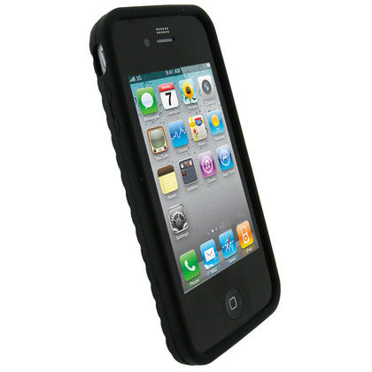 iGadgitz Black Tyre Tread Silicone Skin for Apple iPhone 4 16GB & 32GB + Screen Protector. Not suitable for iPhone 4S Thumbnail 2