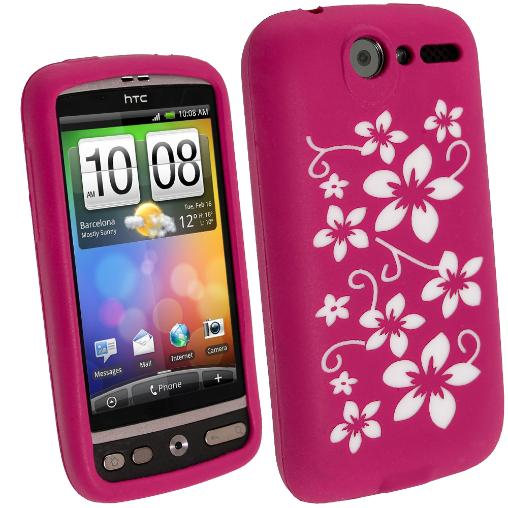iGadgitz Pink & White Flower Design Silicone Skin Case Cover for HTC Desire Bravo G7 + Screen Protector