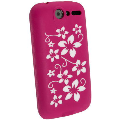 iGadgitz Pink & White Flower Design Silicone Skin Case Cover for HTC Desire Bravo G7 + Screen Protector Thumbnail 3