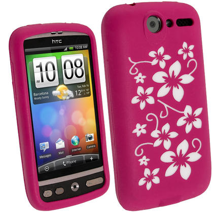 iGadgitz Pink & White Flower Design Silicone Skin Case Cover for HTC Desire Bravo G7 + Screen Protector Thumbnail 1