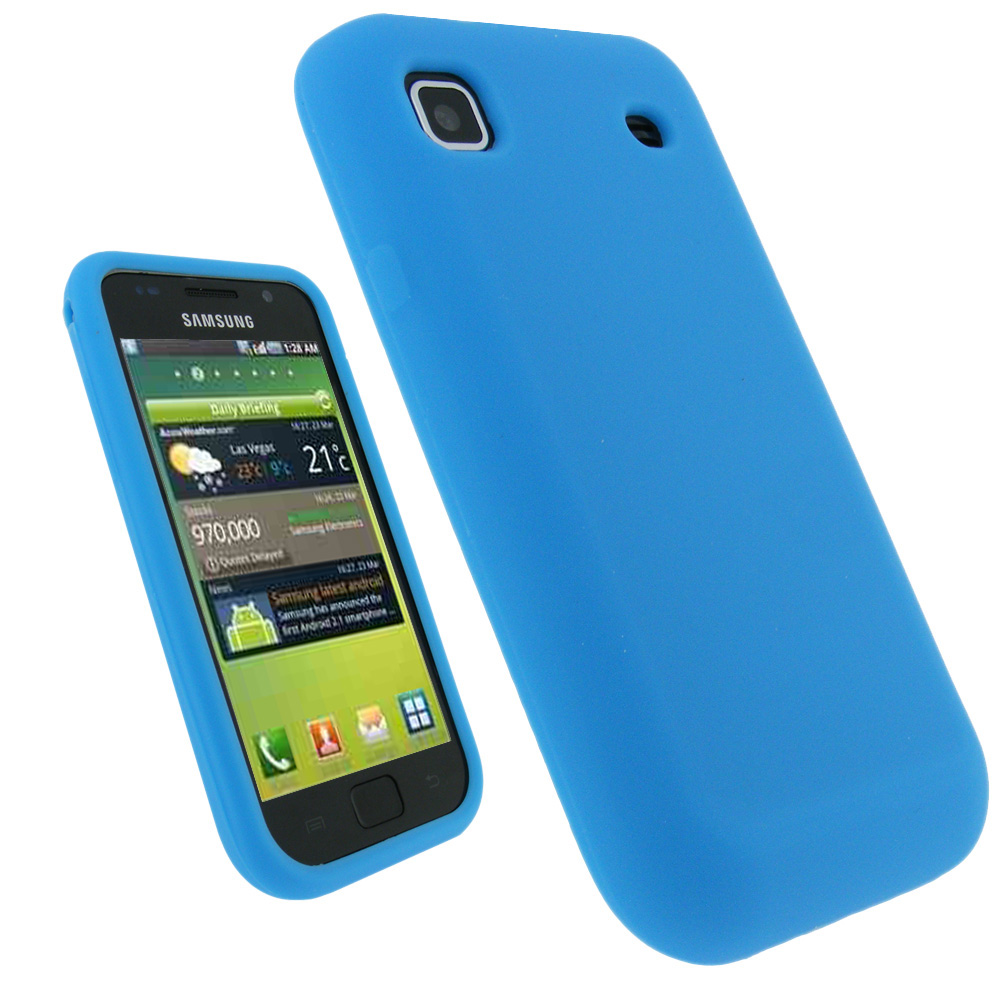 iGadgitz Blue Silicone Skin Case Cover for Samsung i9000 Galaxy S Android Smartphone Mobile Phone + Screen Protector