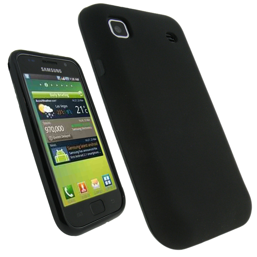 iGadgitz Black Gel Case Cover for Samsung i9000 Galaxy S Phone + Screen Protector