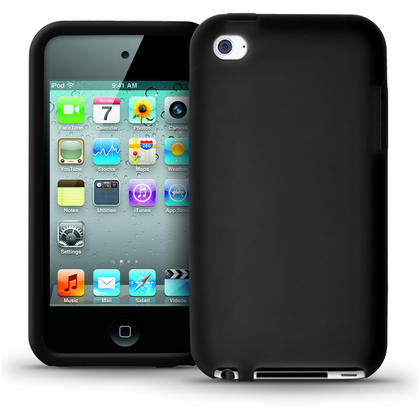 iGadgitz Black Silicone Skin Case Cover for Apple iPod Touch 4th Generation 8gb, 32gb, 64gb + Screen Protector Thumbnail 1