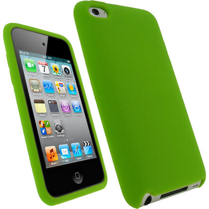 iGadgitz Green Silicone Skin Case Cover for Apple iPod Touch 4th Generation 8gb, 32gb, 64gb + Screen Protector Thumbnail 1