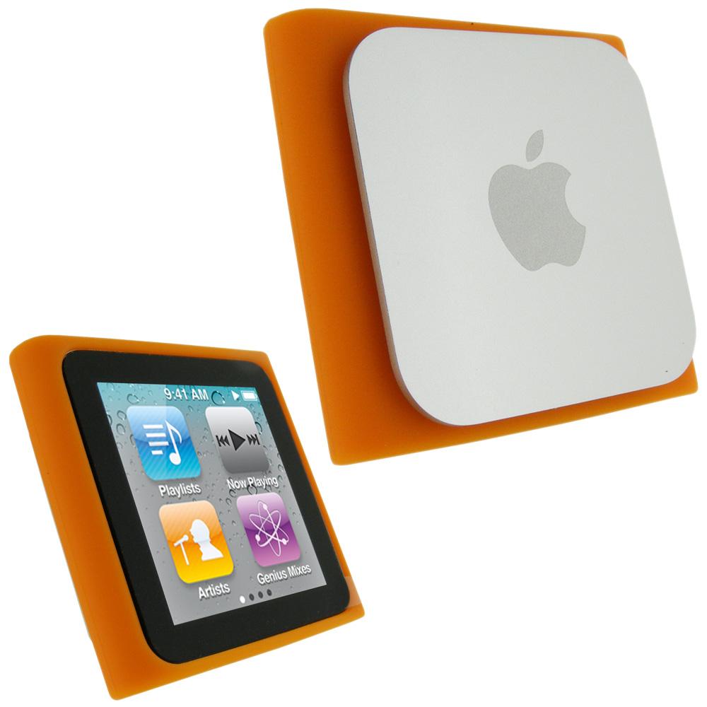 igadgitz orange silicone skin case cover for apple ipod