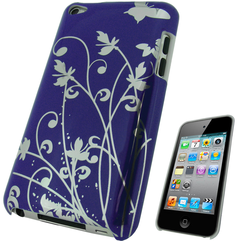 iGadgitz Purple Hard Case with Silver Butterfly Design for Apple iPod Touch 4th Gen 8gb, 32gb, 64gb + Screen Protector