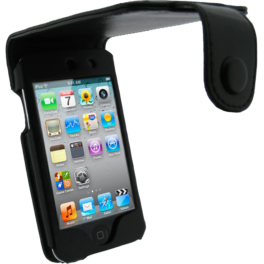 iGadgitz Black Leather Case Cover for Apple iPod Touch 4th Gen 8gb, 32gb & 64gb + Belt Clip & Screen protector
