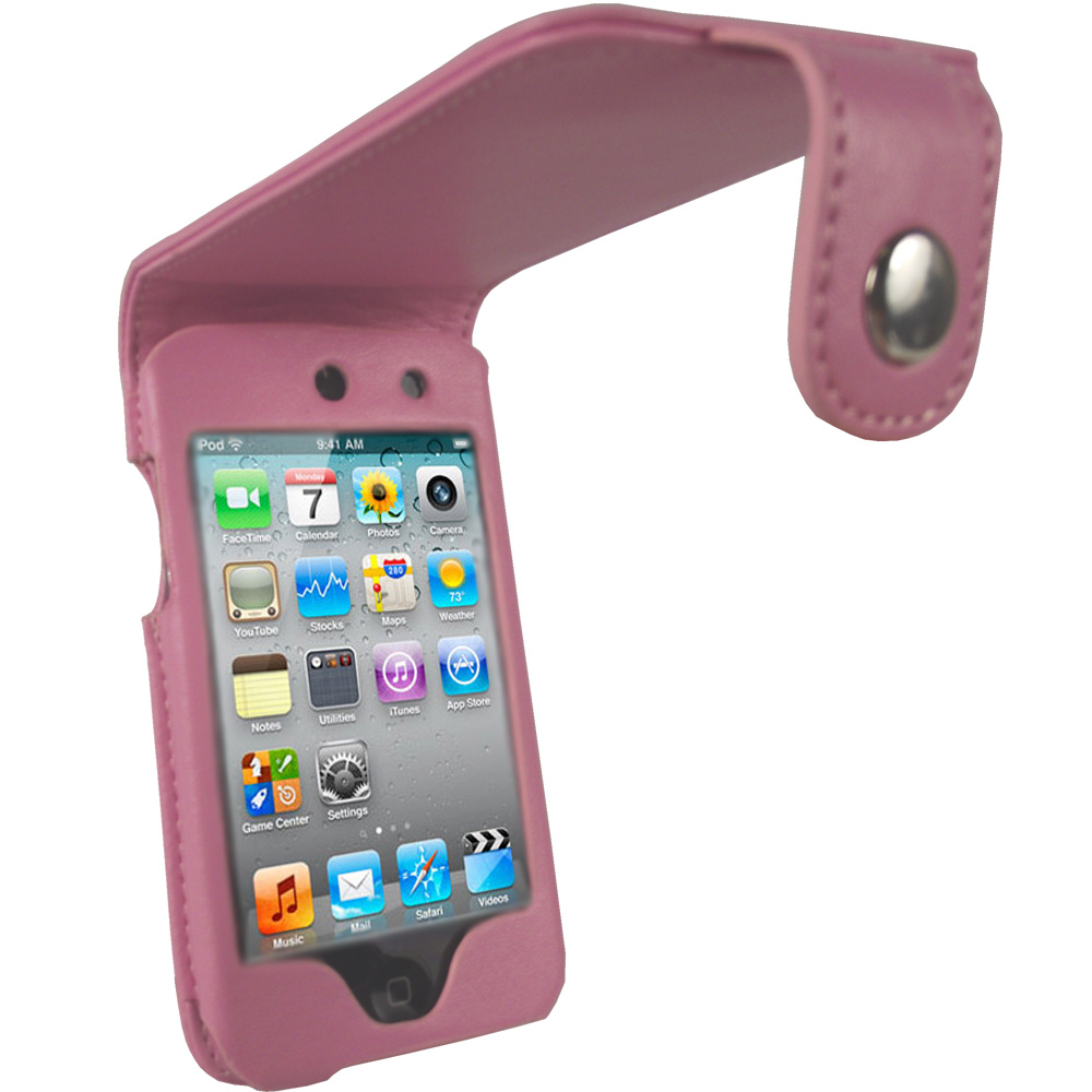iGadgitz Pink PU Leather Case Cover for Apple iPod Touch 4th Generation 8gb, 32gb & 64gb + Belt Clip & Screen protector