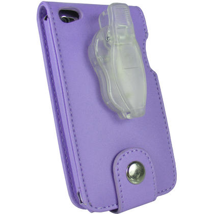 iGadgitz Purple PU Leather Case Cover for Apple iPod Touch 4th Gen 8gb, 32gb & 64gb + Belt Clip & Screen protector Thumbnail 4