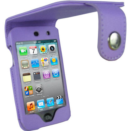 iGadgitz Purple PU Leather Case Cover for Apple iPod Touch 4th Gen 8gb, 32gb & 64gb + Belt Clip & Screen protector Thumbnail 1