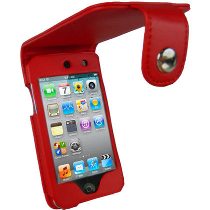 iGadgitz Red PU Leather Case Cover for Apple iPod Touch 4th Generation 8gb, 32gb & 64gb + Belt Clip & Screen protector Thumbnail 1