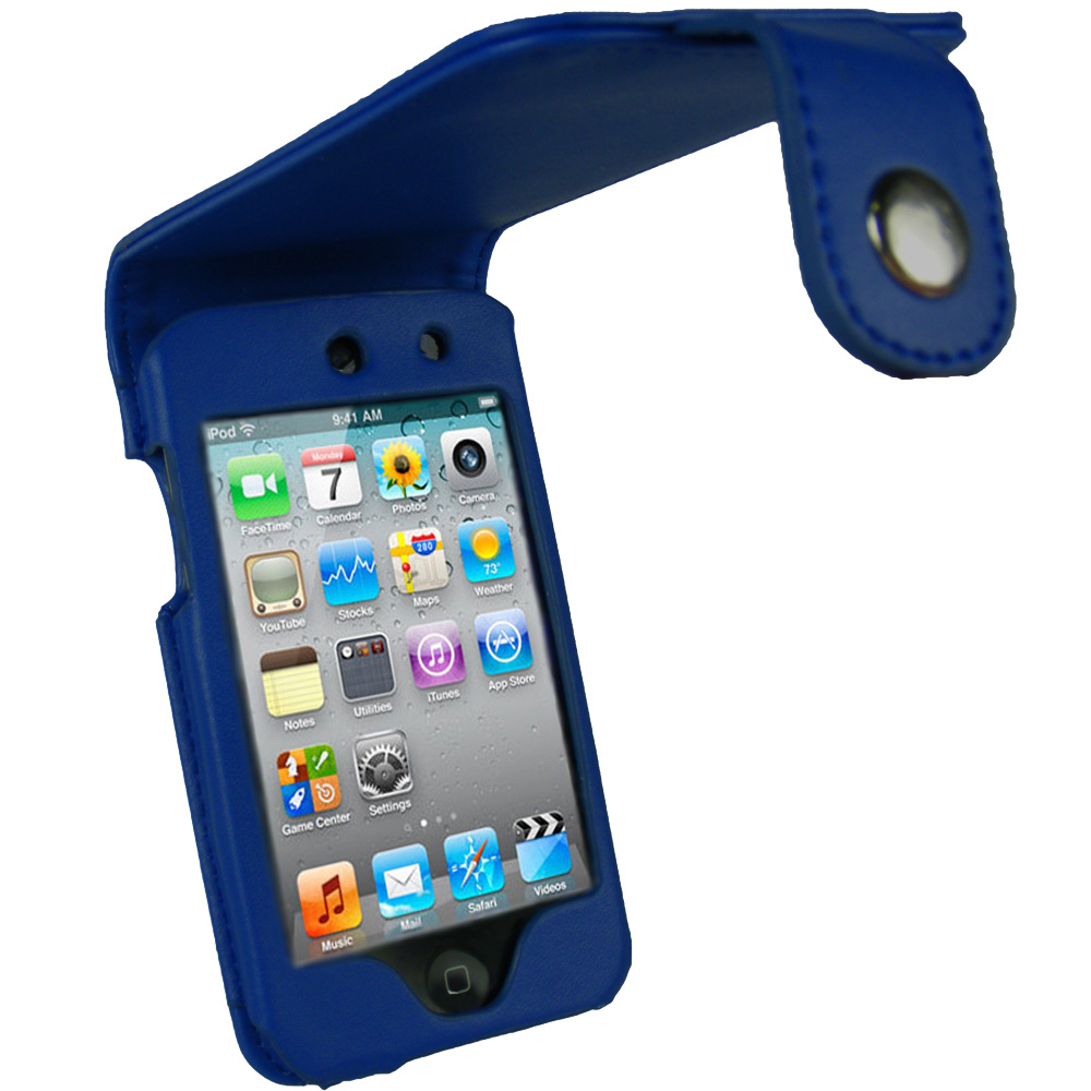 iGadgitz Blue PU Leather Case Cover for Apple iPod Touch 4th Generation 8gb, 32gb & 64gb + Belt Clip & Screen protector