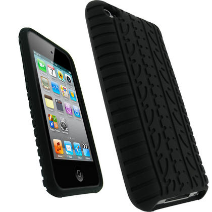 iGadgitz Black Tyre Tread Silicone Skin Case for Apple iPod Touch 4th Generation 8GB, 32GB & 64GB + Screen Protector Thumbnail 1