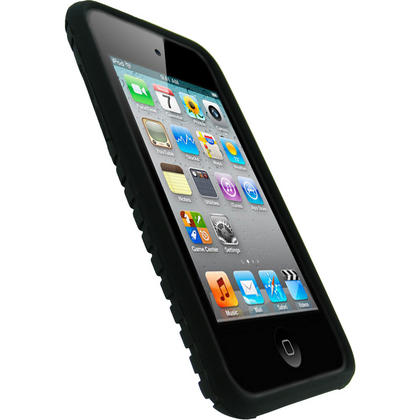 iGadgitz Black Tyre Tread Silicone Skin Case for Apple iPod Touch 4th Generation 8GB, 32GB & 64GB + Screen Protector Thumbnail 2