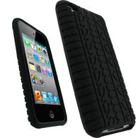 iGadgitz Black Tyre Tread Silicone Skin Case for Apple iPod Touch 4th Generation 8GB, 32GB & 64GB + Screen Protector