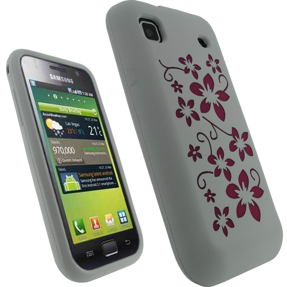 iGadgitz White & Pink Flower Design Silicone Skin Case Cover for Samsung i9000 Galaxy S + Screen Protector