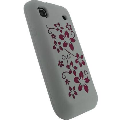 iGadgitz White & Pink Flower Design Silicone Skin Case Cover for Samsung i9000 Galaxy S + Screen Protector Thumbnail 3