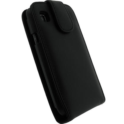 iGadgitz Black Genuine Leather Case Cover Holder for Samsung i9000 Galaxy S + Screen Protector Thumbnail 3