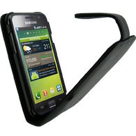 iGadgitz Black Genuine Leather Case Cover Holder for Samsung i9000 Galaxy S + Screen Protector