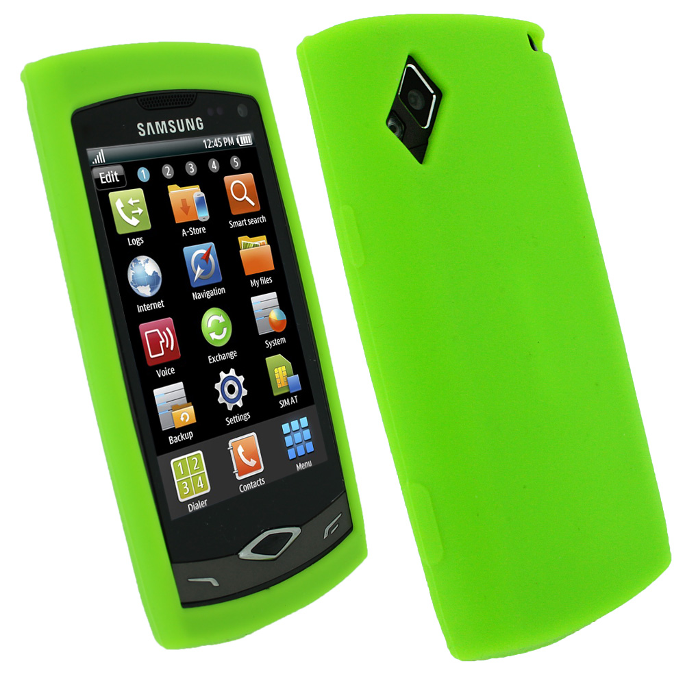 iGadgitz Green Silicone Skin Case Cover for Samsung S8500 Wave Android Smartphone Mobile Phone + Screen Protector