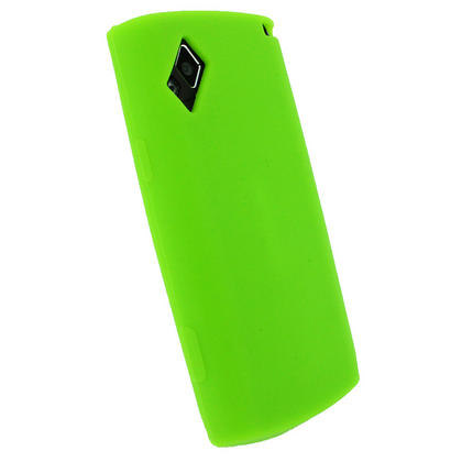 iGadgitz Green Silicone Skin Case Cover for Samsung S8500 Wave Android Smartphone Mobile Phone + Screen Protector Thumbnail 3